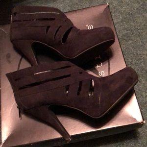 Black suade booties